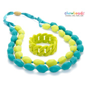 Collier et Bracelet silicone maman duo Chartreuse