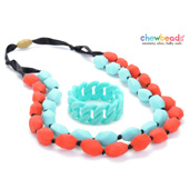 Collier et Bracelet silicone maman duo Turquoise