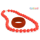 Collier et Bracelet silicone maman duo Cherry Red