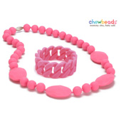 Collier et Bracelet silicone maman duo Punchy Pink