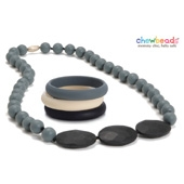 Collier et Bracelets silicone maman duo Stormy Grey