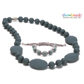 Collier et Bracelet silicone maman duo Perry Grey